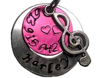 Pink, Dog Tag, Pet Tag, Hand Stamped Pet Tag, Pet ID Tag, Dog ID Tag, Cat Tag, ID Tag, Personalized Pet Tag, Custom Pet Tag, Cat Id Tag