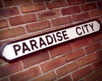 Paradise City Faux Cast Iron Street Sign