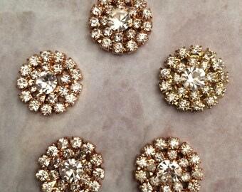 Rhinestone buttons, rhinestone centers, headband supplies, gold button, gold and rhinestone, flat back button,