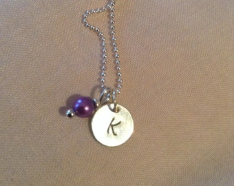 Personalised, hand stamped sterling silver initial necklace