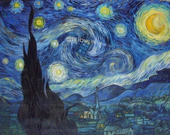 100%handpainted doctor who van gogh starry night art oil painting reproduction for home decor wall art