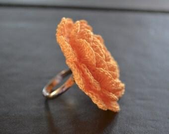 Crochet ring/crochet jewelery/unique flower ring