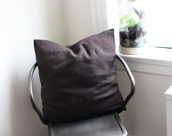 Striped Dark Brown Linen Pillow Cover with Button Closure