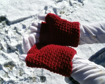 Double Layer Childrens Gloves- Two Layer Kids Gloves- Crochet Gloves- Kids Fingerless Gloves- Warm Gloves- Winter Gloves-  fits ages 9-11