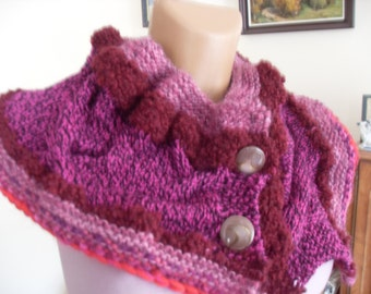 Warm knitted collars, bolero soft woolen yarn, cherry and pink.