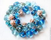 "Bracelet ""Waving Sea"", Murano glass, lampwork glass bead, handmade lampwork glass beads Bracelet"