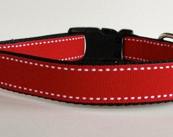 READY TO SHIP! Red Saddle Stitch Holiday Dog Collar