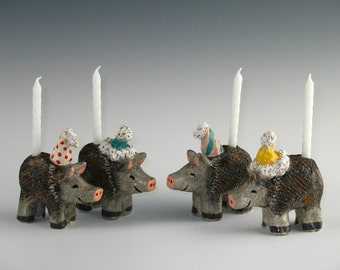Javelina Birthday Candle Holder with Matching Birthday Card by Karlene Voepel, Handmade Ceramics. Sold individually.