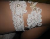 French Lace Garter Set/ Boreal Bridal  Crystal AB/ pearl ivory Alençon lace garter/ handmade, liga:Prom  Garter/ A mano jarretiere fait main