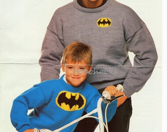 Knitting Pattern Batman Jumper : Batman crochet Etsy