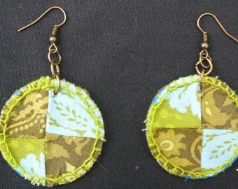 Patchwork Quilt Handstitched Fabric Earrings
