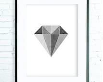 Geometric Print Art, Modern Art Prints, Home Decor, Black & White Diamond Print,  Minimalist wall art,  Abstract Art, Diamond Wall Art