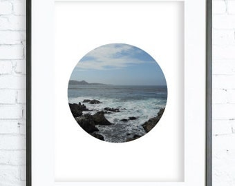 California Ocean Print Art, instant Download Printable, Digital print, Print, Circle Photography