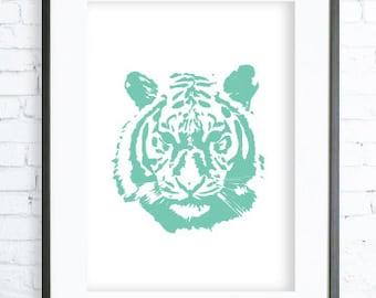 Mint Tiger Poster ,Mint Tiger print Art,Tiger Face, Gallery Wall, Mint Tiger Print Art, Tiger Wall Decor, Tiger Art Print