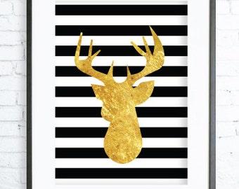 Deer Antler,Deer Decor, GOLD Deer Wall Decor, Modern Art, Printable Deer ,Deer Print, GOLD Printable
