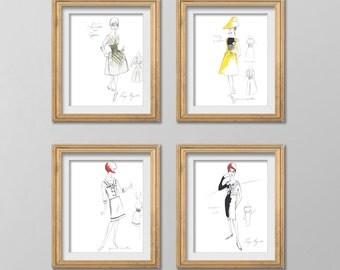 "Vintage Fashion Sketch Collection Of Four Digital Printable Wall Art 8""X10"""