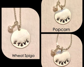 Sterling Silver Round Personalized Necklace with Swarovski Crystals