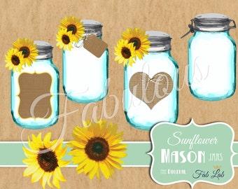 Sunflower Clipart, Shabby Chic, Digital Mason Jar, Elements,Digital Clipart, Scrapbook, PNG
