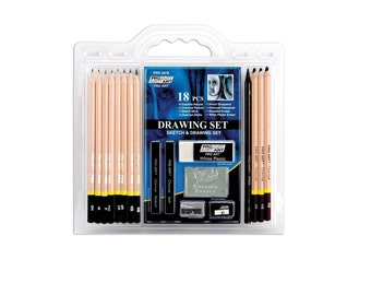 Sketch Kit, Drawing Kit, 18 Piece Pro Art Graphite and Charcoal Pencil Set; Sketching, Illustration, Scrapbooking, Anime, Manga; Affordable