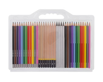 Sketch Kit, Drawing Kit, 36 Piece Graphite, Charcoal & Watercolor Pencil Set; Sketching, Illustration, Scrapbooking, Anime, Manga