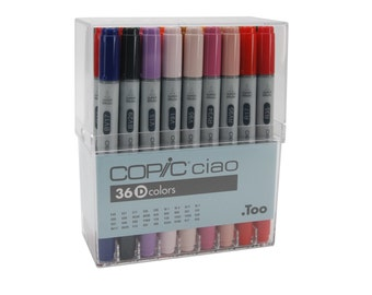 36 Copic Markers Ciao Artist Set D; Copic Ciao Drawing Set of 36 Pens; Copic Manga, Anime, Drawing Markers Set