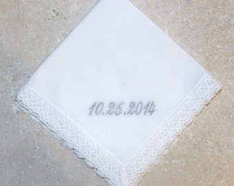 Personalized White or Ivory 100% Cotton Handkerchief Country Manor Lace 13-05112-1WWL