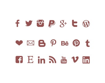 Social media Icons, instant download buttons, marsala