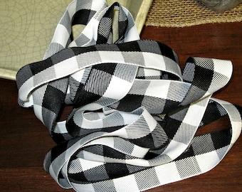 May Arts Black & White Checked Ribbon
