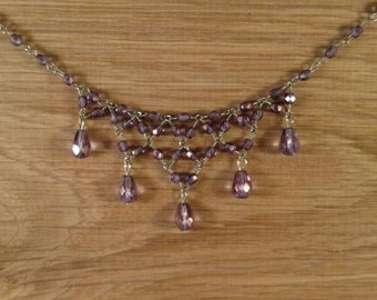 Lilac Crystal Bib Necklace