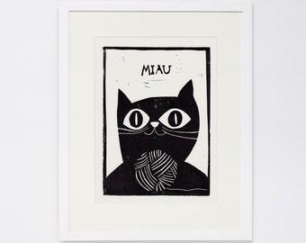 MIAU, Linocut Print