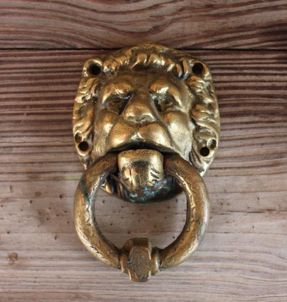 Vintage door knocker bronze lion head big and by siartgallery - Large lion head door knocker ...
