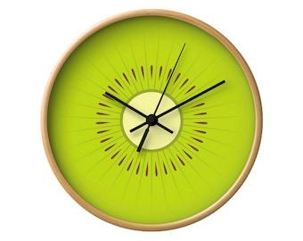 Kiwi clock kiwi wall clock fruit clock green clock green kitchen wall clock green wall clock green kitchen clock fruit clock kitchen decor