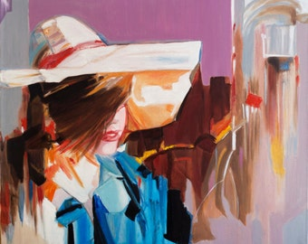 Original Oil portrait painting Woman Modern Art hat