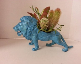 Whimsical Lion Garden Trex, agave, cactus, succulent, dinosaur