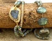 Flashy labradorite bracelet,Aquamarine & Labradorite jewelry,Boho stack bracelet, layering jewelry,Iridescent Gemstones,March birthstone