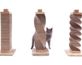 Original Cat Scratcher - recycled cardboard, oak and stone structure - by Charley and Billie