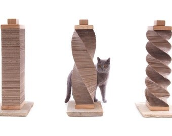 Original CARDBOARD Cat Scratcher | recycled cardboard, oak and Indian stone structure | by Charley and Billie