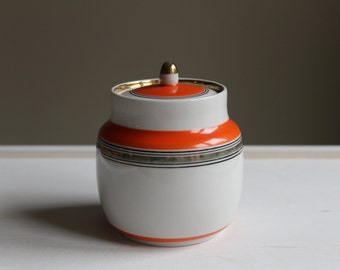 Soviet Sugar Bowl, Vintage Sugar Pot with Stripes, Russian Tableware. Retro Kitchen Decor.  Made in USSR. Collectible