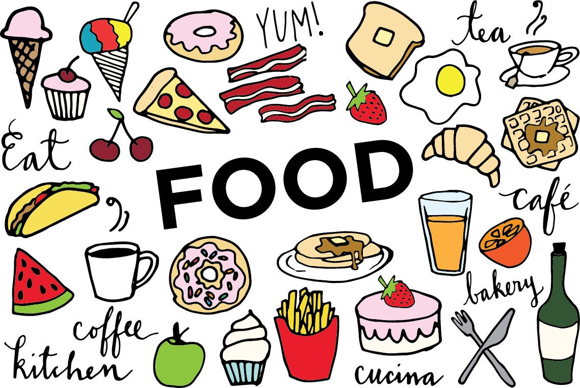 Food Clip Art Hand drawn clip art food collage sheet