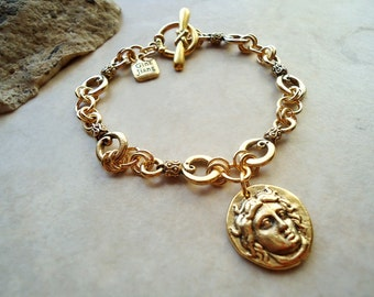 Gold Roman Coin Charm Bracelet, Handmade Metal Chain and Toggle plated in 24 Karat Gold.  Handmade.