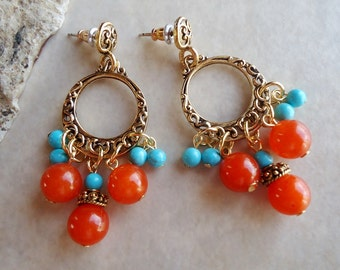 Turquoise / Carnelian Multi Stone Hoop Dangle Earrings.Gold.Silver.Orange.Blue.Statement.Chandelier.Bridal.Gemstone.Colorful.Gift.Handmade.