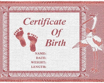 Personalized Baby Blanket - Certificate of Birth Pink