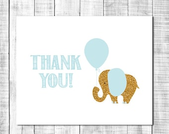 Blue and Gold Elephant Thank You Note Card - Immediate Download _ 64