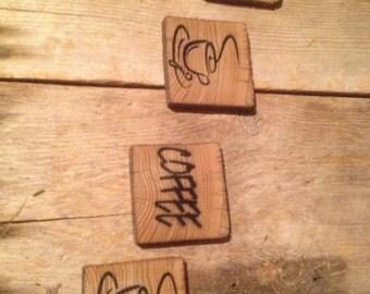 Vintage reclaimed barnwood Steaming Mug & COFFEE coasters (set of 4)