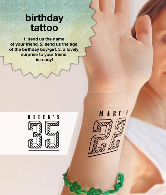 Birthday party custom temporary tattoos pack of 5 10 15 for Custom temp tattoos
