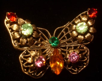 1940s Butterfly Accent Pin Brooch Vintage Costume Jewelry