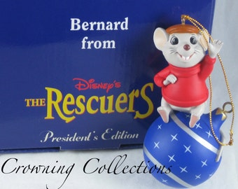 Disney Bernard Ornament Grolier Christmas Magic The Rescuers Mouse Scholastic President's Edition