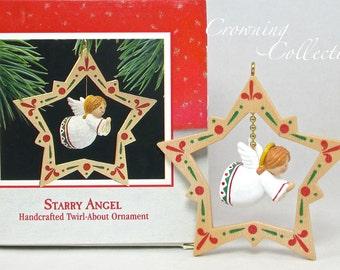 1988 Hallmark Starry Angel Ornament Twirl About Keepsake Folk Art Americana MIB Star Christmas Vintage