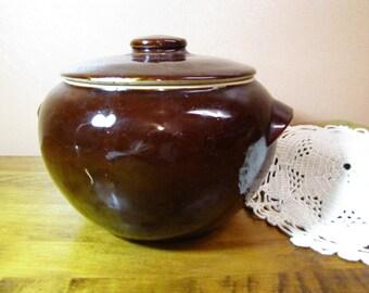 Vintage Lidded Brown Glazed Beanpot Crock