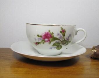 Vintage Rose Pattern Teacup and Saucer - Made in Japan